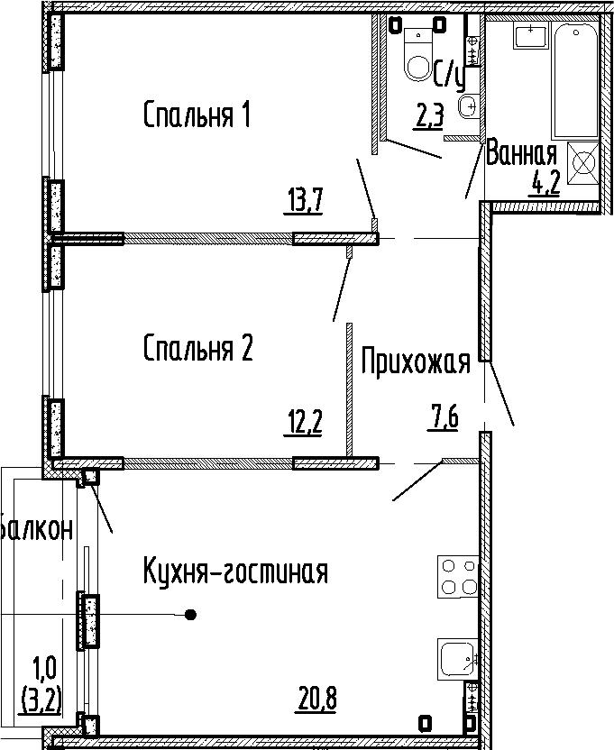 3-к.кв (евро), 64 м²