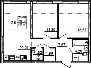 3Е-комнатная, 60.98 м²– 2