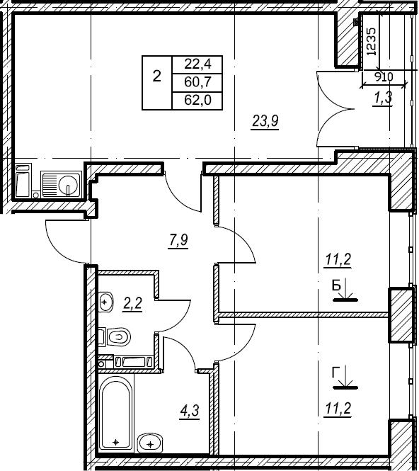2-комнатная, 62.1 м²– 2