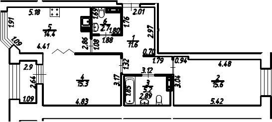 2-к.кв, 66.25 м², 3 этаж