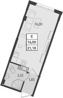 Студия, 21.18 м²