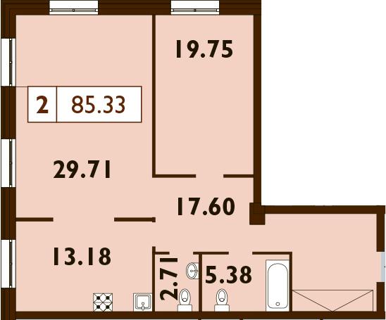 2-к.кв, 85.33 м²