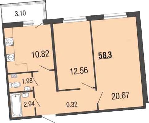 2-к.кв, 62.5 м²