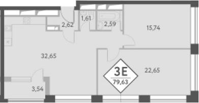 3-к.кв (евро), 81.8 м²