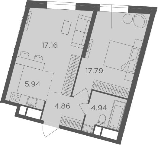 2Е-комнатная, 50.69 м²– 2