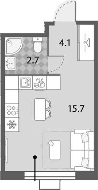 Студия, 22 м²– 2