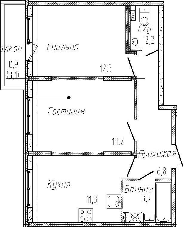 2-комнатная квартира, 49.5 м², 1 этаж – Планировка