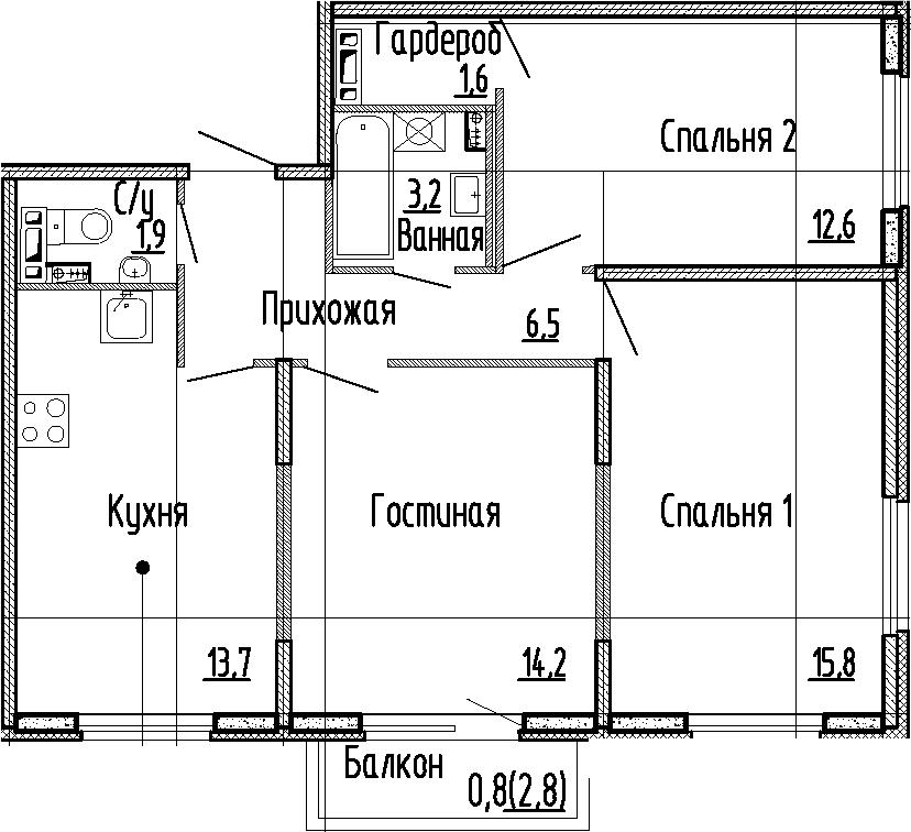 3-комнатная квартира, 69.5 м², 3 этаж – Планировка