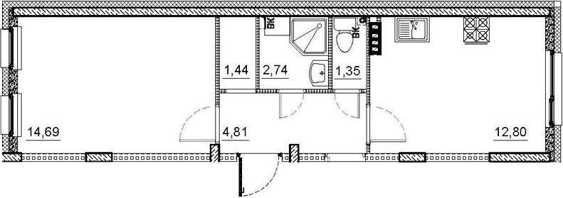 2-комнатная, 54.59 м²– 2