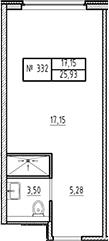Студия, 25.93 м²