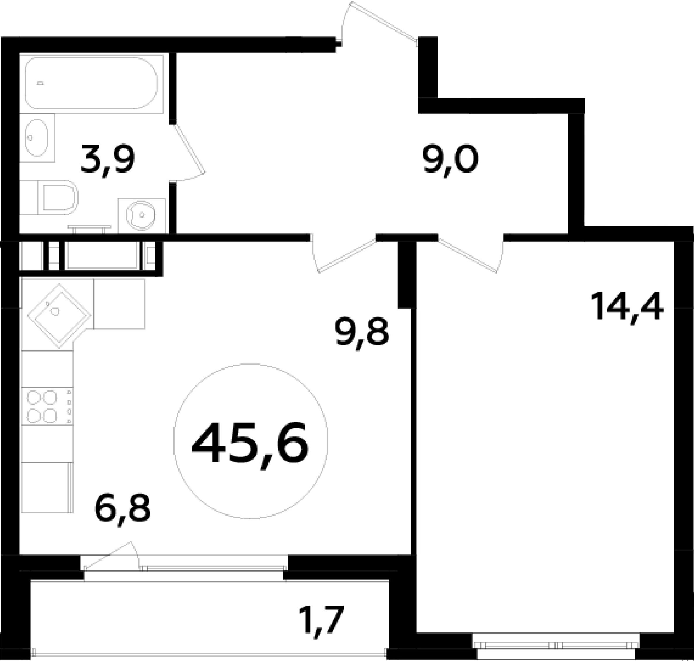 2-к.кв (евро), 47.3 м²