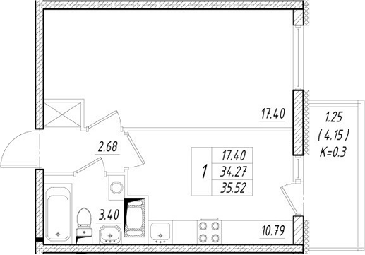 1-к.кв, 38.42 м²