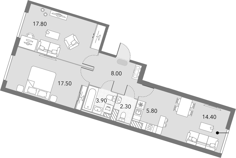 3Е-комнатная, 69.7 м²– 2