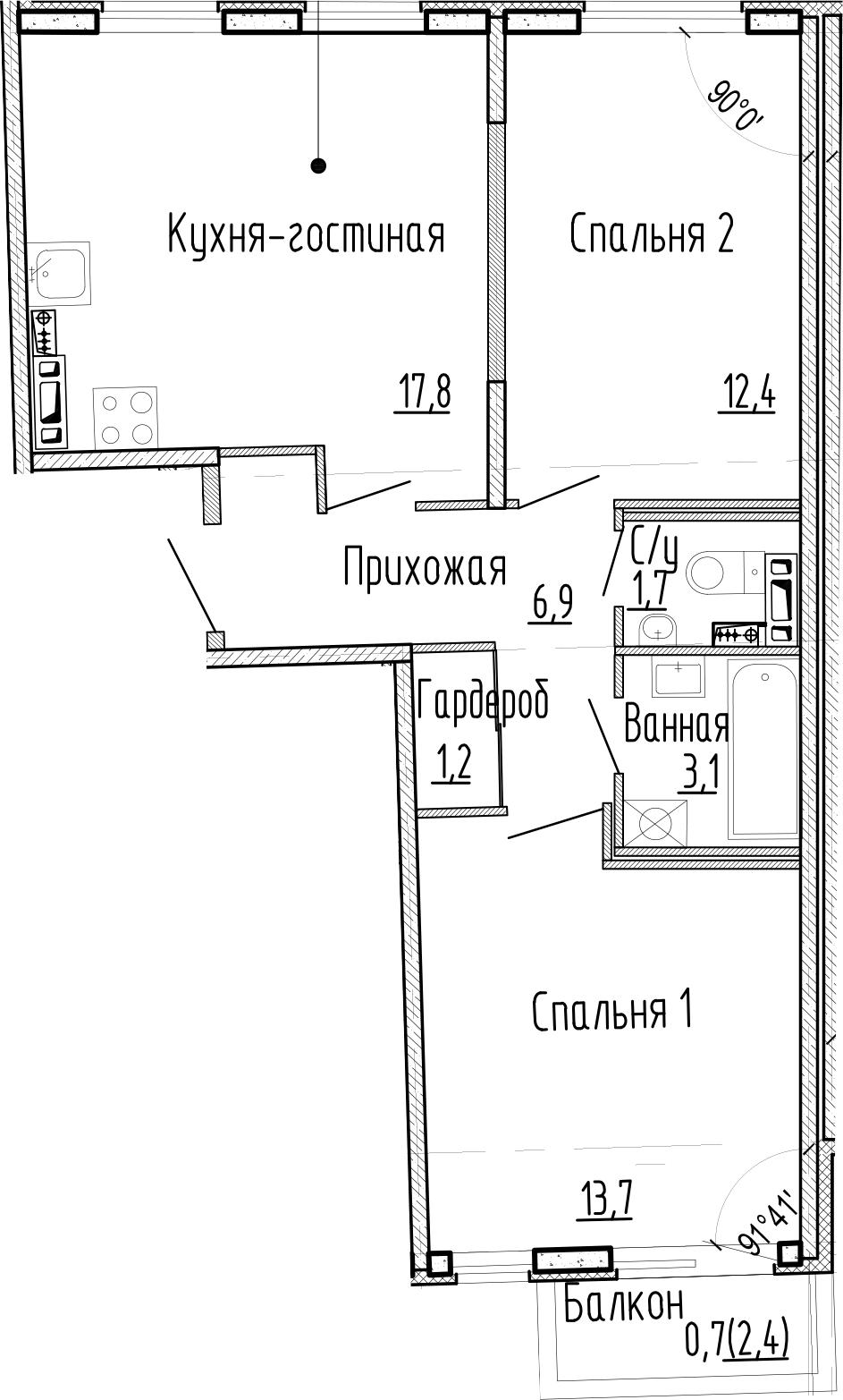 3Е-к.кв, 56.8 м², 3 этаж