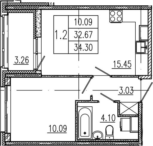 2Е-комнатная, 32.67 м²– 2