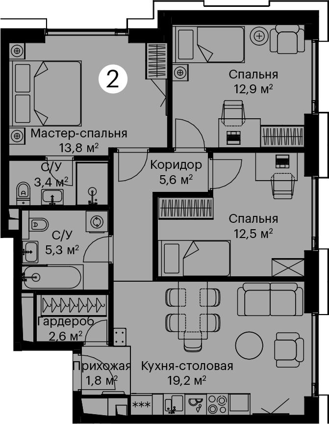 4Е-комнатная, 77.1 м²– 2