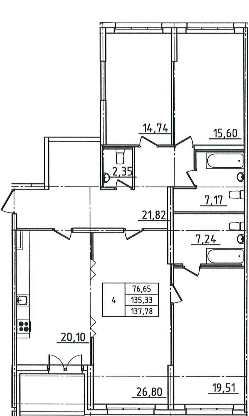 5-к.кв (евро), 140.23 м²