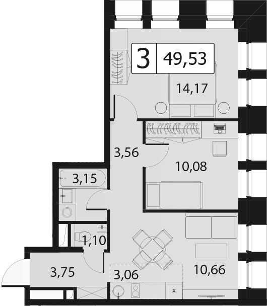 3Е-комнатная, 49.53 м²– 2