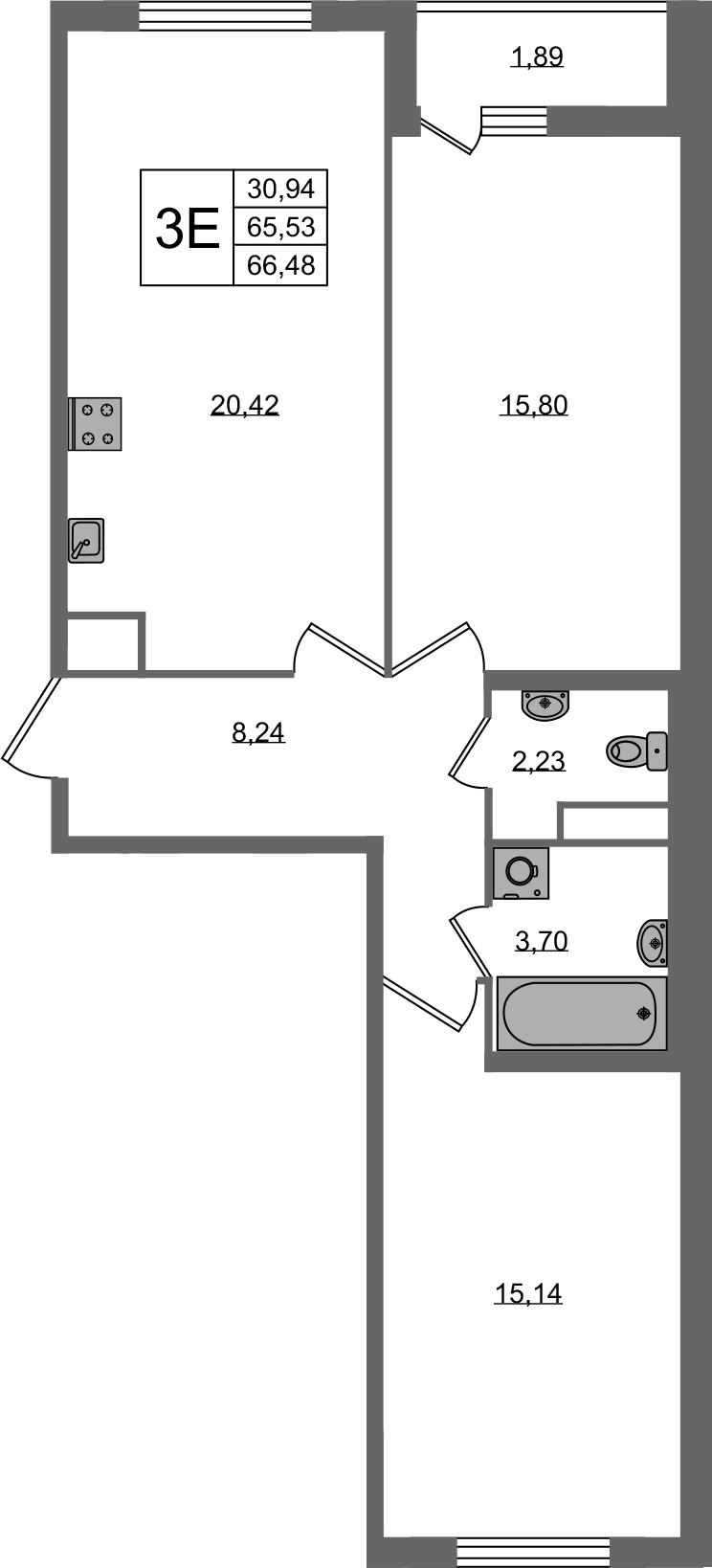 3-к.кв (евро), 67.43 м²