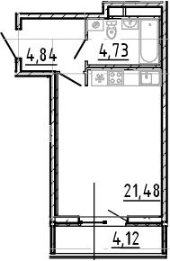Студия, 31.05 м²