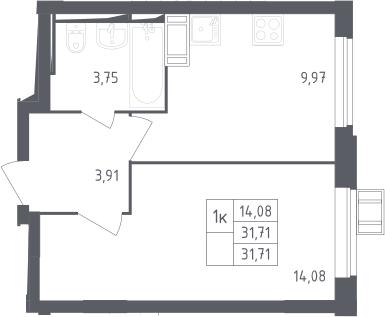 1-комнатная, 31.71 м²– 2