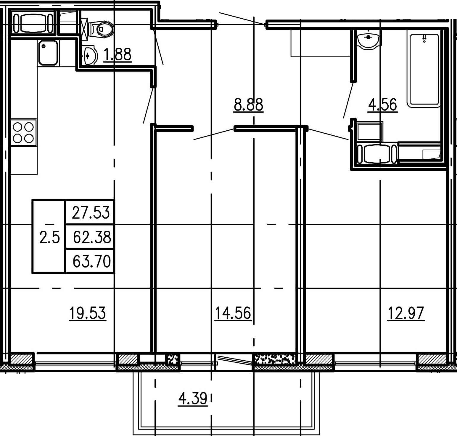 3Е-к.кв, 62.38 м²