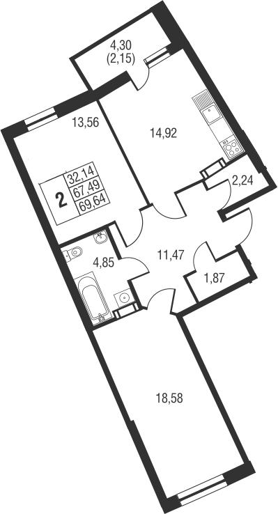 2-к.кв, 71.79 м²