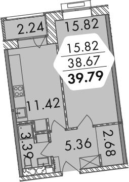 1-к.кв, 40.91 м²