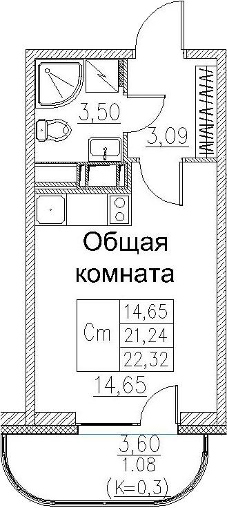 Студия, 22.32 м²