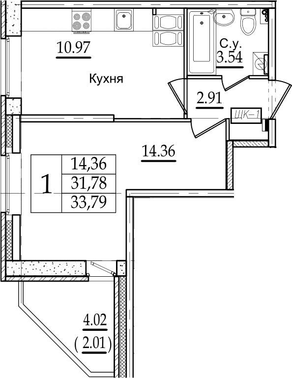 1-комнатная, 33.79 м²– 2