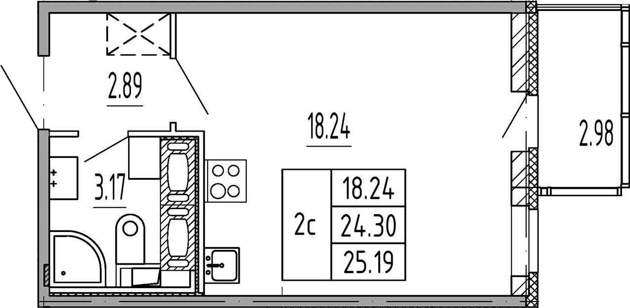 Студия, 24.3 м², 18 этаж
