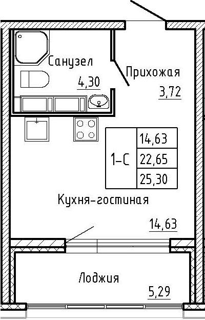 Студия, 27.95 м²