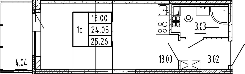 Студия, 24.05 м²– 2