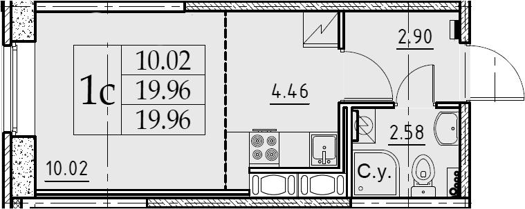 Студия, 19.96 м²– 2