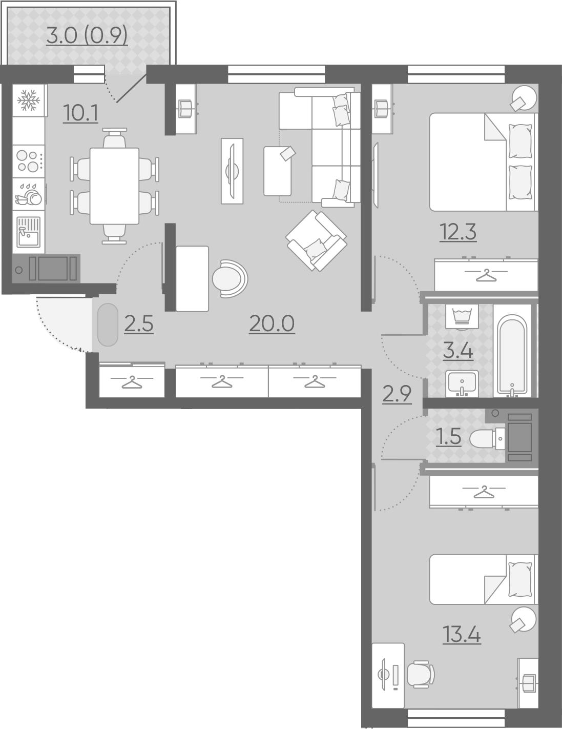 3-комнатная, 67 м²– 2
