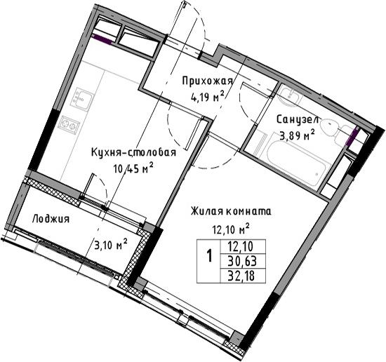 1-к.кв, 32.18 м², 3 этаж