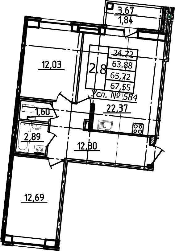 3Е-к.кв, 63.88 м²