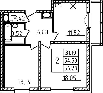 2-комнатная, 55.5 м²– 2