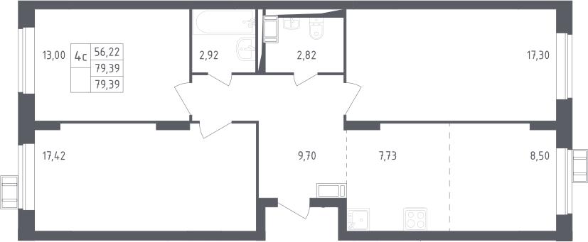 4Е-к.кв, 79.39 м², 13 этаж