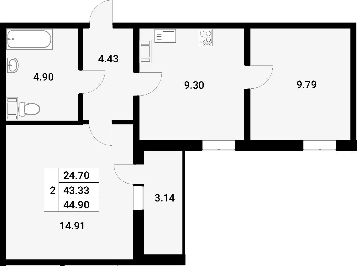 2-к.кв, 46.47 м²
