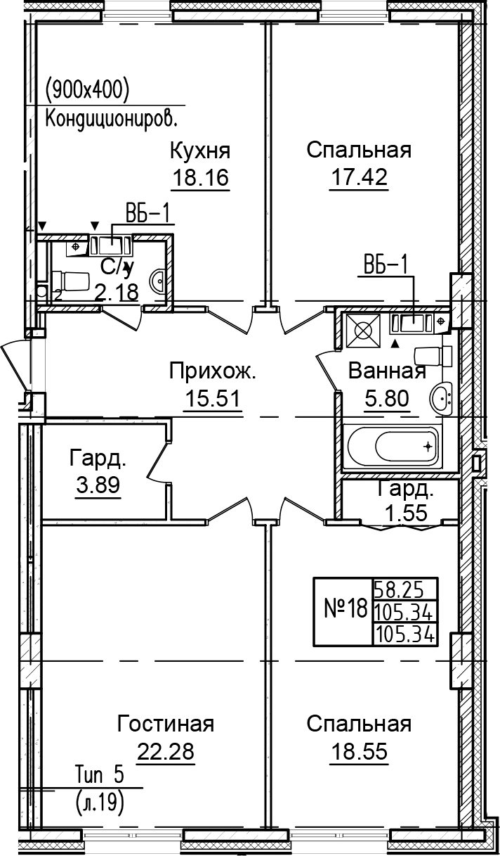 4-к.кв (евро), 105.34 м²