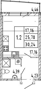 Студия, 25.78 м²– 2