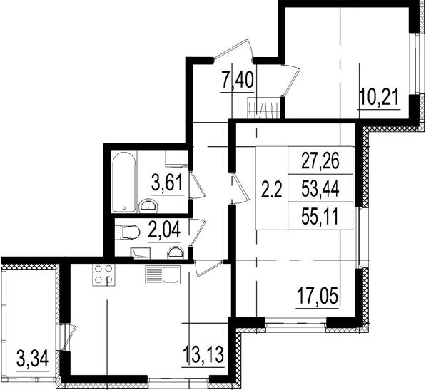 2-комнатная, 53.44 м²– 2
