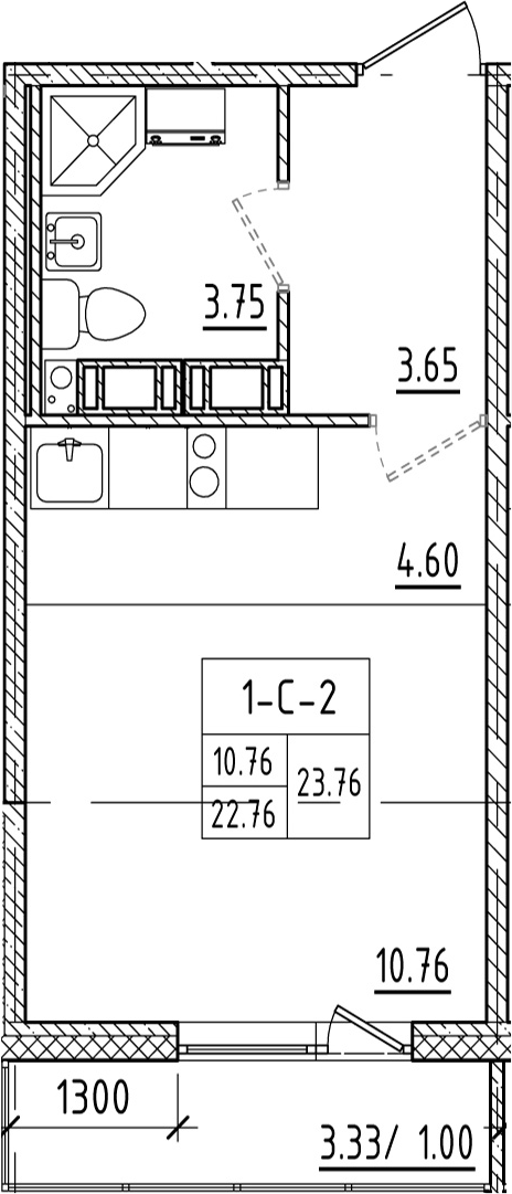 Студия, 26.11 м²