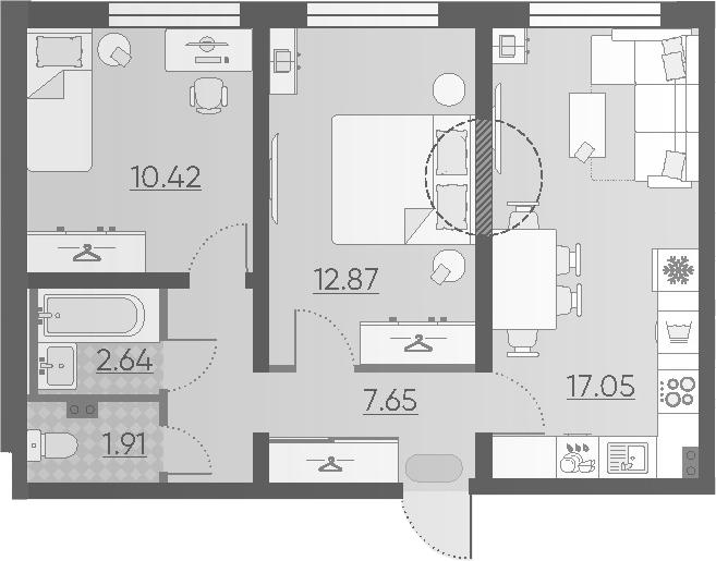 3Е-комнатная, 52.54 м²– 2