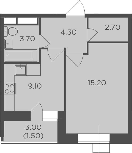 1-к.кв, 36.5 м², от 4 этажа