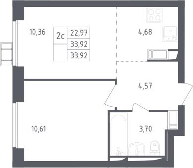 2Е-к.кв, 33.92 м², от 12 этажа