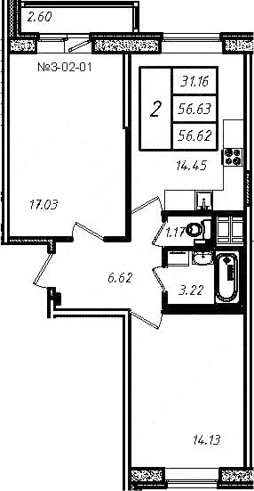 2-к.кв, 56.54 м², 4 этаж
