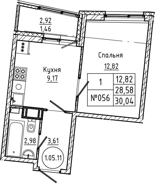 1-комнатная, 30.04 м²– 2