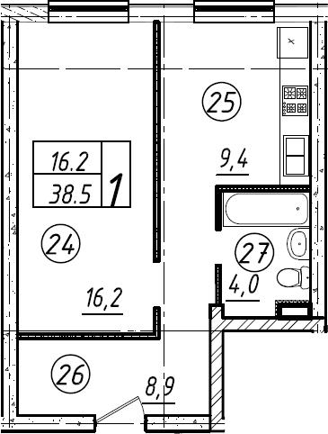 1-комнатная, 38.5 м²– 2